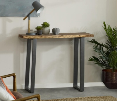 Baltic Live Edge Console Table - Wood & Metal